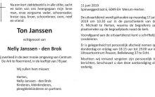 Janssen Ton - overlijdensadvertentie 1